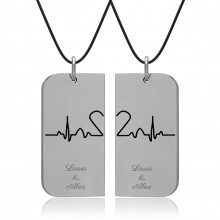 UNIQUE JEWELRY LOVERS DOG TAG PAIR NECKLACE
