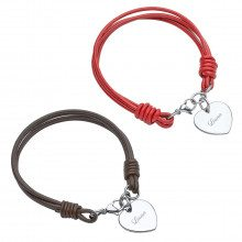 UNIQUE JEWELRY LEATHER BRACELET WITH HEART SHAPED CHARM