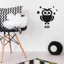 PERSONALIZED WALLTATTOO OWL AND NAME