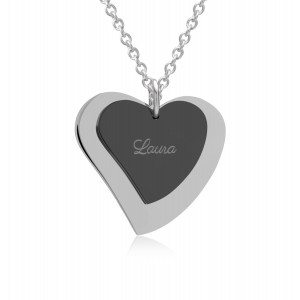 UNIQUE JEWELRY DOUBLE BLACK SILVER HEART CHARM NECKLACE